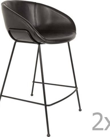 Sada 2 černých barových židlí Zuiver Feston, výška sedu 65cm