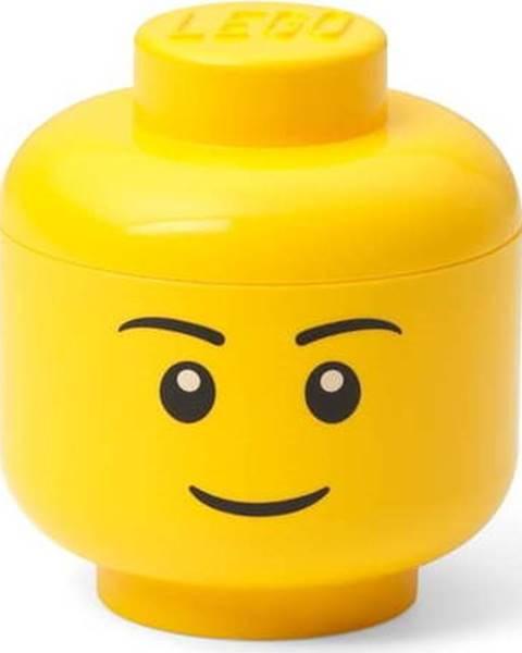 LEGO Žlutá úložná krabice ve tvaru hlavy LEGO® boy, 10,5x10,6x12 cm