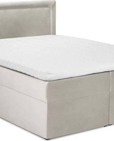 Béžová sametová dvoulůžková postel Mazzini Beds Yucca,180x200cm