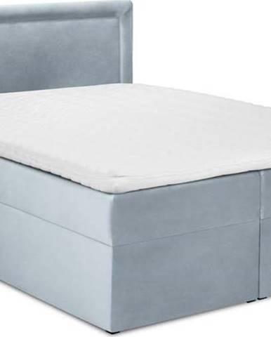 Bledě modrá sametová dvoulůžková postel Mazzini Beds Yucca,200x200cm