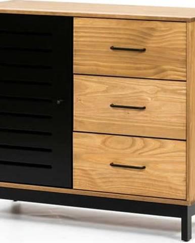 Komoda s dřevěnou konstrukcí a černými detaily Marckeric Alessia,šířka95cm
