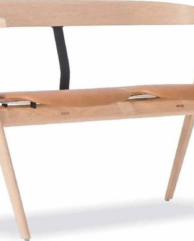 Lavice z dubového dřeva s koženým sedákem Gazzda Ava