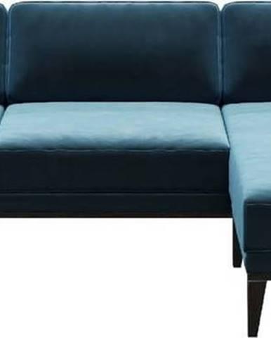 Modrá sametová rohová pohovka MESONICA Musso, pravý roh