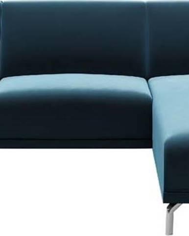 Modrá sametová rohová pohovka MESONICA Puzzo, pravý roh