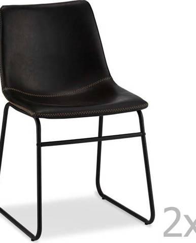 Sada 2 černých židlí Furnhouse Indiana