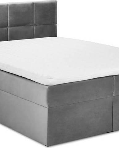 Šedá sametová dvoulůžková postel Mazzini Beds Mimicry,180x200 cm