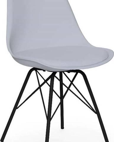 Šedá židle s černým podnožím z kovu loomi.design Eco