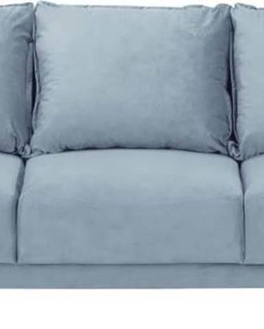 Světle modrá sametová rozkládací pohovka s úložným prostorem Mazzini Sofas Freesia, 215 cm