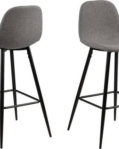 Světle šedá barová židle s kovovým podnožím Actona Wilma