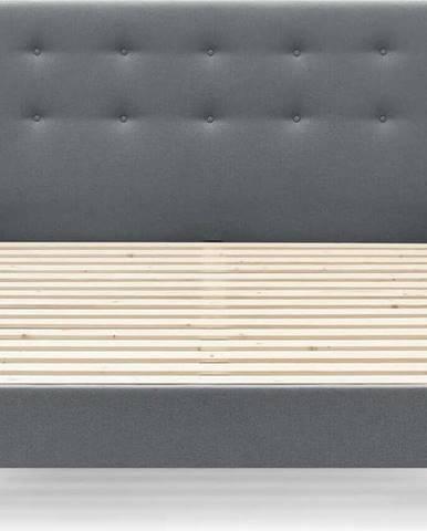 Tmavě šedá dvoulůžková postel Bobochic Paris Rory Light, 180 x 200 cm