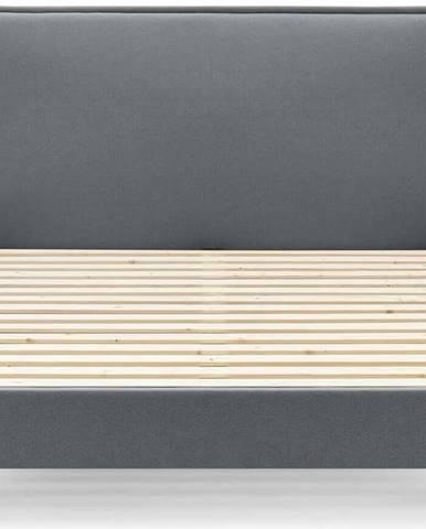 Tmavě šedá dvoulůžková postel Bobochic Paris Sary Dark, 160 x 200 cm
