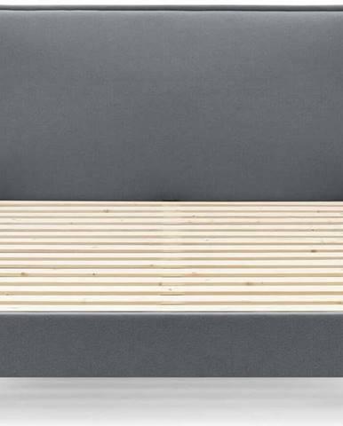 Tmavě šedá dvoulůžková postel Bobochic Paris Sary Light, 180 x 200 cm