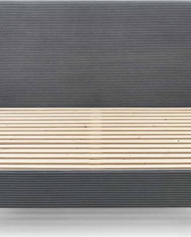 Tmavě šedá manšestrová dvoulůžková postel Bobochic Paris Anja Dark, 160 x 200 cm