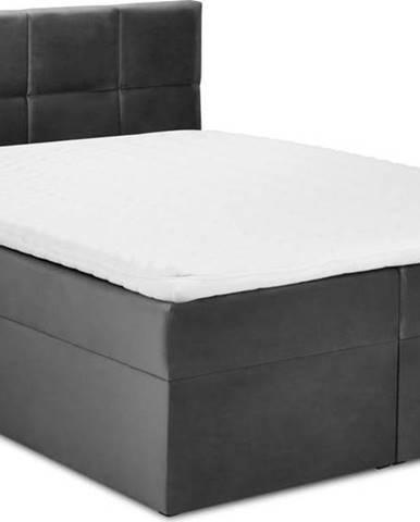 Tmavě šedá sametová dvoulůžková postel Mazzini Beds Mimicry,180x 200cm