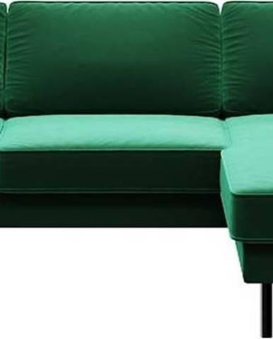 Zelená sametová rohová pohovka MESONICA Kobo,pravý roh