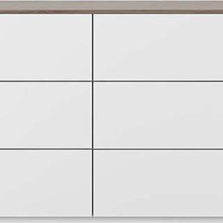 Bílá komoda s šuplíky a deskou v ořechovém dekoru TemaHome Join, 120 x 84 cm