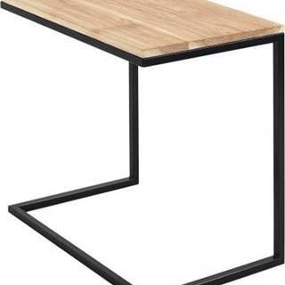 Stůl s černým podnožím a deskou z masivního dubu Custom Form Lupe