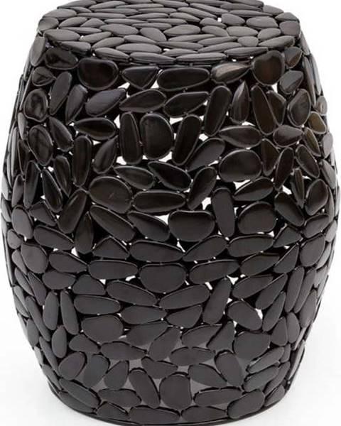 WOOX LIVING Černý odkládací stolek WOOX LIVING Floral, ⌀40cm