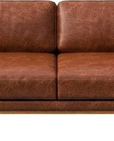 Červenohnědá kožená pohovka MESONICA Musso, 173 cm