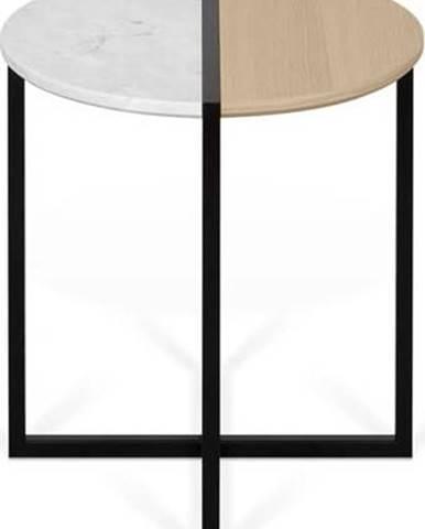Odkládací stolek s deskou z dubového dřeva a mramoru TemaHome Sonata, ø 50 cm