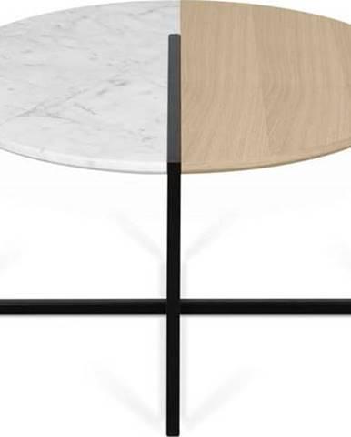 Konferenční stolek s deskou z dubového dřeva a mramoru TemaHome Sonata, ø 80 cm