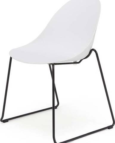 Sada 2 bílých jídelních židlí s černým podnožím Le Bonom Viva