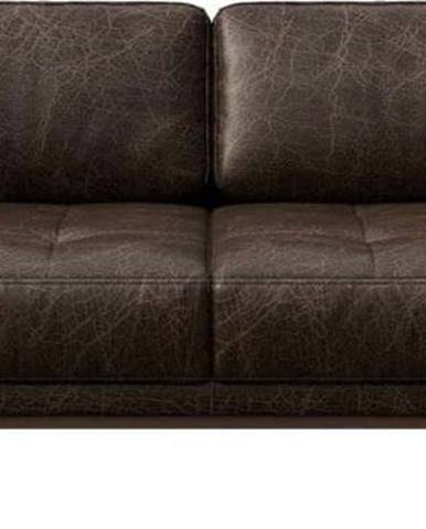 Tmavě hnědá kožená pohovka MESONICA Musso Tufted, 173 cm