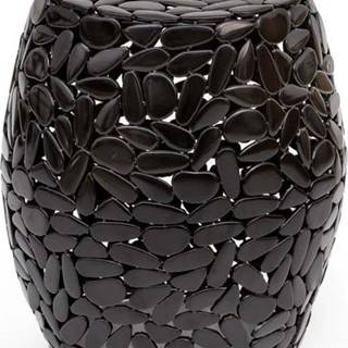 Černý odkládací stolek WOOX LIVING Floral, ⌀40cm