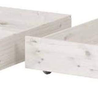 Sada 2 bílých úložných zásuvek z borovicového dřeva k dětské posteli Flexa Classic
