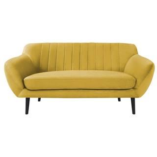 Žlutá sametová pohovka Mazzini Sofas Toscane, 158 cm