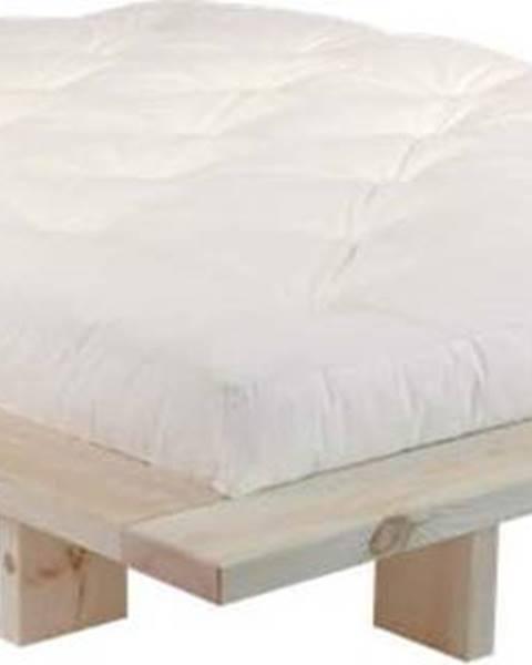 Karup Design Dvoulůžková postel z borovicového dřeva s matrací Karup Design Japan Double Latex Raw/Natural, 160 x 200 cm