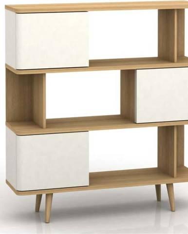 Bílá dřevěná knihovna Støraa Caitlin