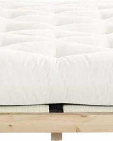 Dvoulůžková postel z borovicového dřeva s matrací a tatami Karup Design Dock Comfort Mat Natural Clear/Natural, 140 x 200 cm