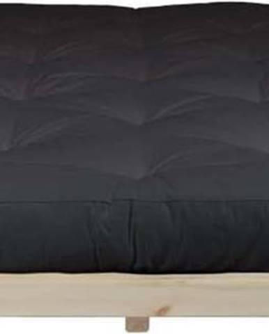 Dvoulůžková postel z borovicového dřeva s matrací Karup Design Dock Comfort Mat Natural Clear/Black, 180 x 200 cm