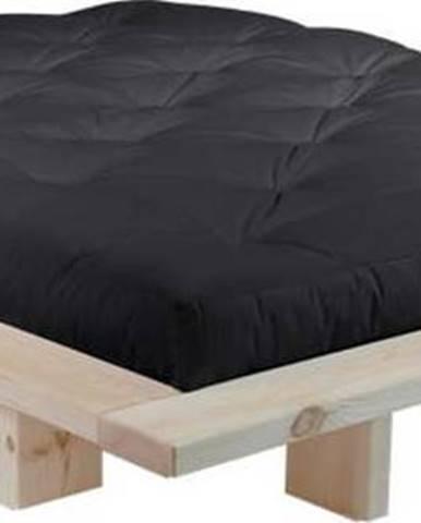 Dvoulůžková postel z borovicového dřeva s matrací Karup Design Japan Comfort Mat Raw/Black, 140 x 200 cm
