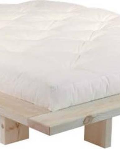 Dvoulůžková postel z borovicového dřeva s matrací Karup Design Japan Double Latex Raw/Natural, 160 x 200 cm