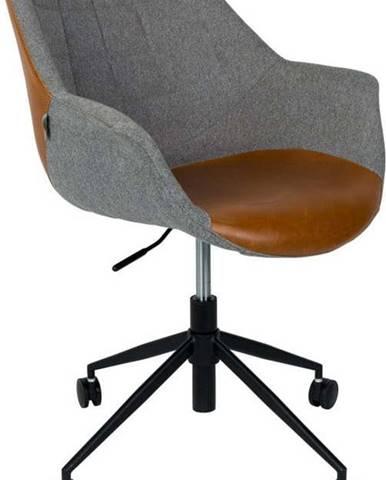 Šedá kancelářská židle s hnědým detailem Zuiver Doulton