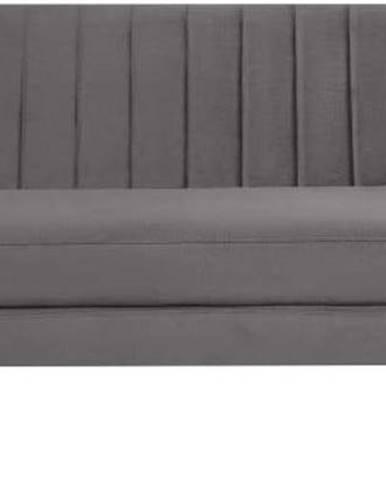 Šedá sametová pohovka Mazzini Sofas Benito, 188 cm