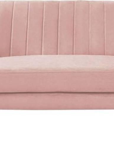 Světle růžová sametová pohovka Mazzini Sofas Sardaigne, 158 cm