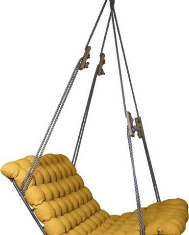 Tmavě žlutá závěsná dvoumístná relaxační houpačka Linda Vrňáková Vikos