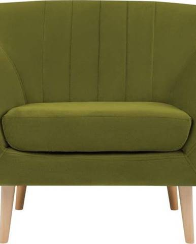 Zelené sametové křeslo Mazzini Sofas Sardaigne