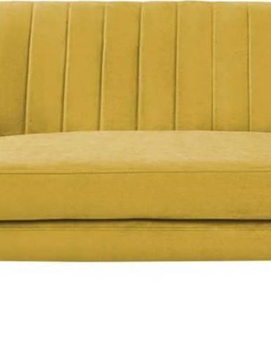 Žlutá sametová pohovka Mazzini Sofas Sardaigne, 158 cm