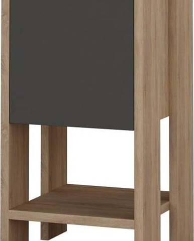 Antracitový noční stolek s detaily v dekoru dubového dřeva Garetto Ema