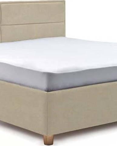 Béžová dvoulůžková postel s roštem a úložným prostorem ProSpánek Grace, 180 x 200 cm