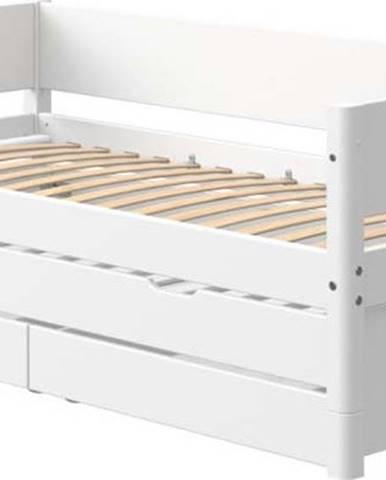 Bílá dětská postel s přídavným výsuvným lůžkem a úložným prostorem Flexa White