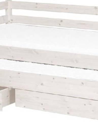 Bílá dětská postel z borovicového dřeva s výsuvným lůžkem a 2 zásuvkami Flexa Classic, 90x200cm