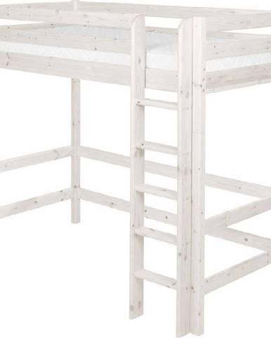 Bílá dětská vysoká postel z borovicového dřeva Flexa Classic, 90x200cm