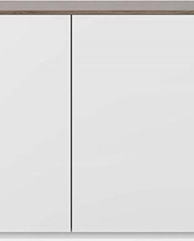 Bílá komoda s dvířky a deskou v ořechovém dekoru TemaHome Join, 120 x 84 cm