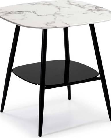 Bílo-černý odkládací stolek se skleněnou deskou v mramorovém dekoru Marckeric Alina