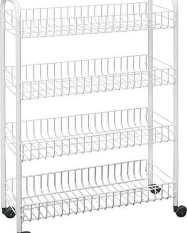 Čtyřpatrový pojízdný stojan do koupelny Metaltex Laundry, 23 x 84 cm